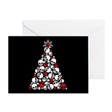 Gothic Skull Christmas Tree Greeting Card