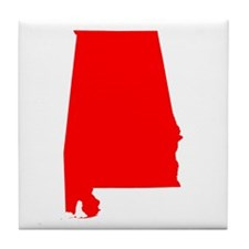 Bright Red Alabama Tile Coaster