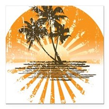 "Island Sunset Square Car Magnet 3"" x 3"""
