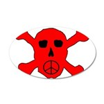 Peace Skull 20x12 Oval Wall Decal