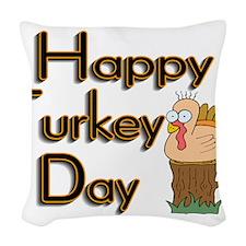 Happy Turkey Day Woven Throw Pillow