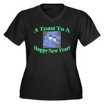 New Year's Toast Women's Plus Size V-Neck Dark T-S