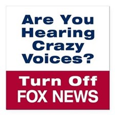 "Turn Off Fox News Square Car Magnet 3"" x 3"""