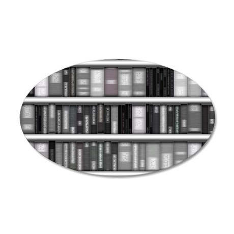 Modern Bookshelf 35x21 Oval Wall Decal