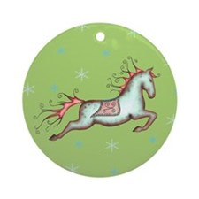 holiday capriole horse w/stars Ornament (Round)
