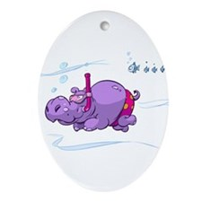 Snorkeling Hippo Ornament (Oval)