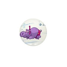 Snorkeling Hippo Mini Button (100 pack)