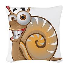 Happy Snail Woven Throw Pillow
