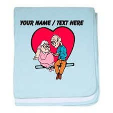 Personalized Old Couple In Love baby blanket