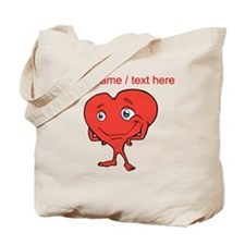 Personalized Cartoon Red Heart Tote Bag