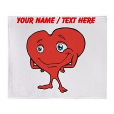 Personalized Cartoon Red Heart Throw Blanket