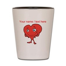 Personalized Cartoon Red Heart Shot Glass