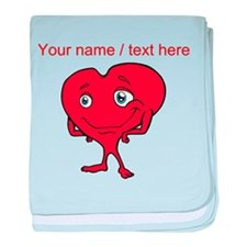 Personalized Cartoon Red Heart baby blanket