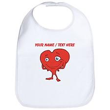 Personalized Cartoon Red Heart Bib