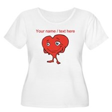 Personalized Cartoon Red Heart Plus Size T-Shirt