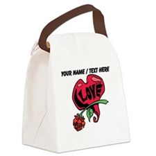 Personalized Love Heart With Rose Canvas Lunch Bag