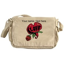 Personalized Love Heart With Rose Messenger Bag