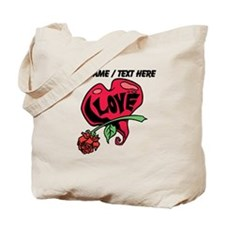 Personalized Love Heart With Rose Tote Bag