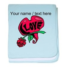 Personalized Love Heart With Rose baby blanket