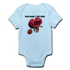 Personalized Love Heart With Rose Body Suit