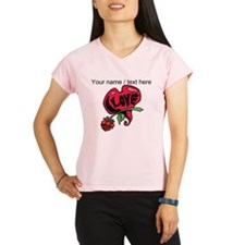 Personalized Love Heart With Rose Peformance Dry T