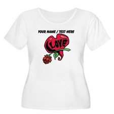 Personalized Love Heart With Rose Plus Size T-Shir