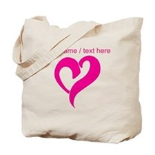 Personalized Pink Heart Tote Bag