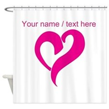 Personalized Pink Heart Shower Curtain