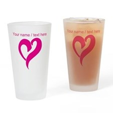 Personalized Pink Heart Drinking Glass