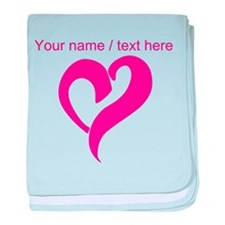 Personalized Pink Heart baby blanket