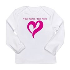 Personalized Pink Heart Long Sleeve T-Shirt