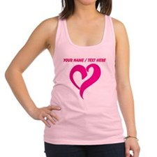 Personalized Pink Heart Racerback Tank Top