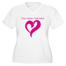Personalized Pink Heart Plus Size T-Shirt