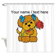Personalized Cute Puppy With Flower Shower Curtain