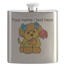 Personalized Cute Puppy With Flower Flask