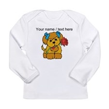 Personalized Cute Puppy With Flower Long Sleeve T-