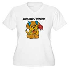 Personalized Cute Puppy With Flower Plus Size T-Sh