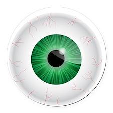 Bloodshot Green Eyeball Round Car Magnet