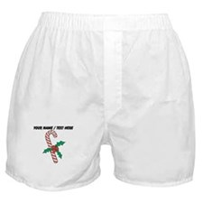 Personalized Candy Cane With Holly Boxer Shorts