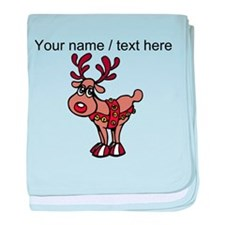 Personalized Cartoon Red Nose Reindeer baby blanke