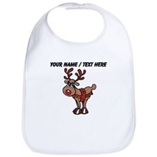 Personalized Cartoon Red Nose Reindeer Bib
