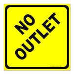 No Outlet Sign Square Car Magnet 3