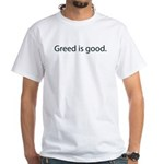 Gordon Gecko Greed is Good White T-Shirt
