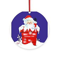 Santa in Chimney Personalized Ornament