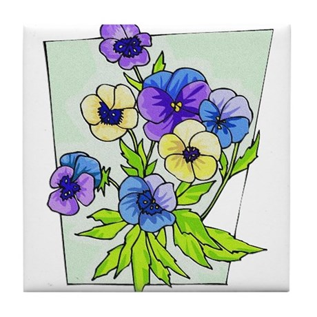 pansies.png Tile Coaster