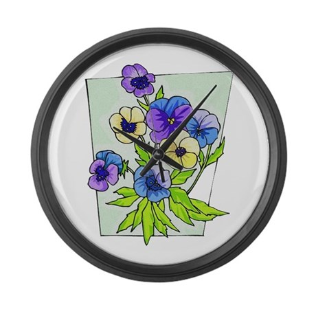 pansies.png Large Wall Clock