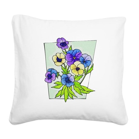 pansies.png Square Canvas Pillow