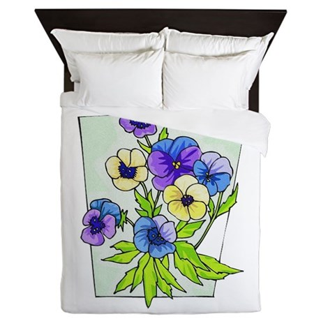 pansies.png Queen Duvet