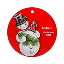 Personalized Retro Vintage Snowman Ornament