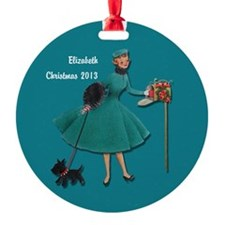 Vintage Girl with Yorkie Personalized Ornament